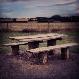 My park bench. Edited for maximum dramatic effect, of course, courtesy of Instagram.